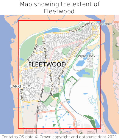 Map showing extent of Fleetwood as bounding box