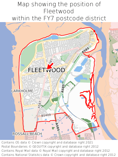 Map showing location of Fleetwood within FY7