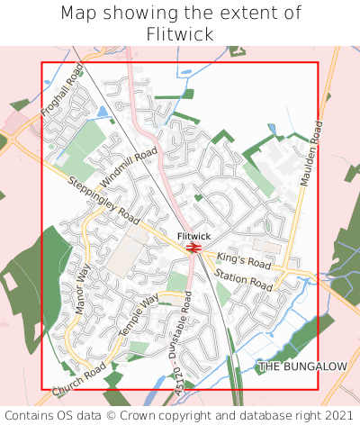 Map showing extent of Flitwick as bounding box
