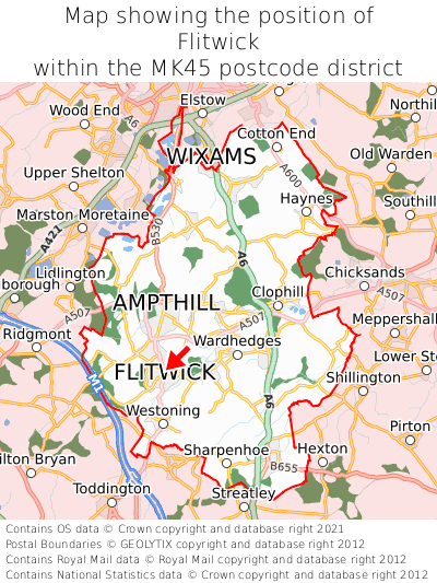 Map showing location of Flitwick within MK45