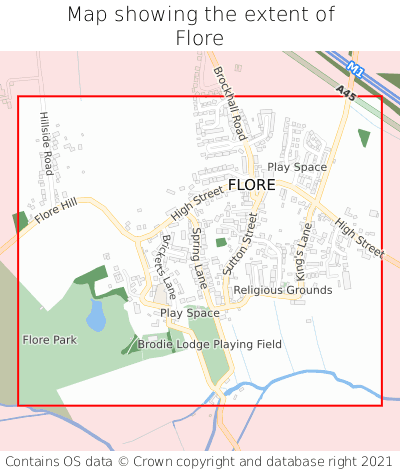 Map showing extent of Flore as bounding box
