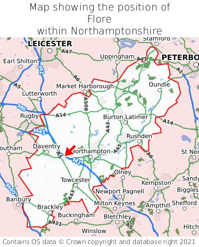 Map showing location of Flore within Northamptonshire
