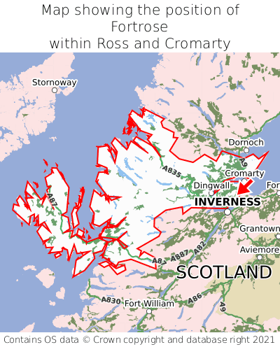 Map showing location of Fortrose within Ross and Cromarty