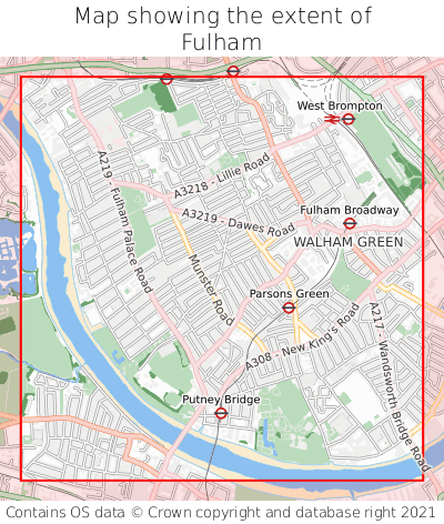 Map showing extent of Fulham as bounding box