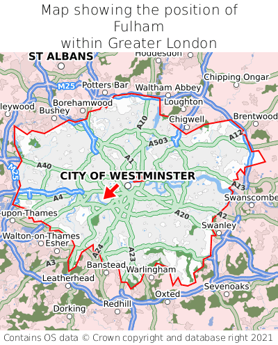 Map showing location of Fulham within Greater London