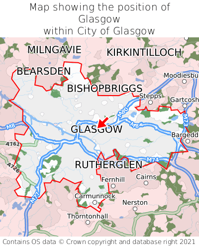 Map showing location of Glasgow within City of Glasgow