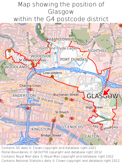 Map showing location of Glasgow within G4