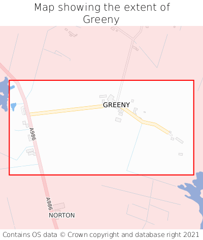 Map showing extent of Greeny as bounding box