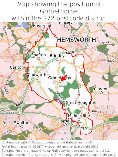 Map showing location of Grimethorpe within S72