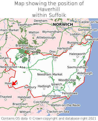 Map showing location of Haverhill within Suffolk