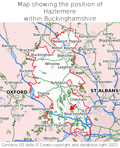 Map showing location of Hazlemere within Buckinghamshire
