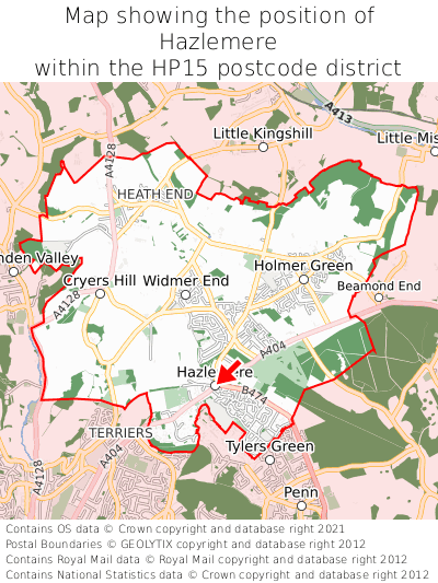 Map showing location of Hazlemere within HP15