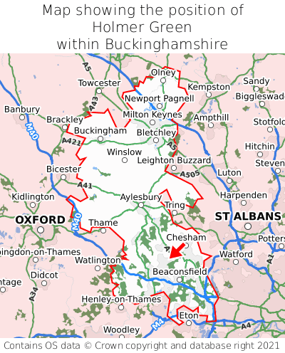 Map showing location of Holmer Green within Buckinghamshire
