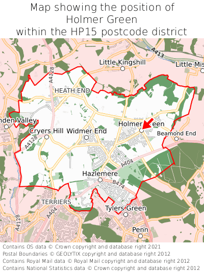 Map showing location of Holmer Green within HP15