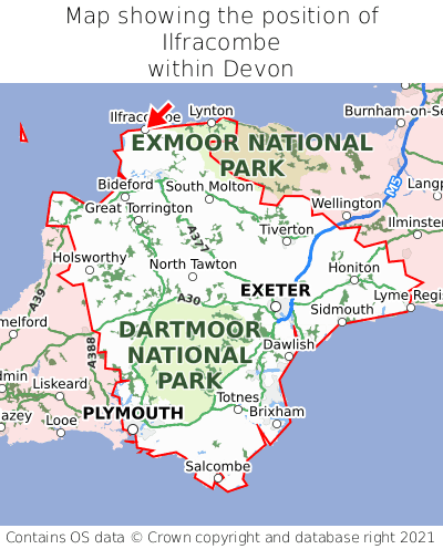 Map showing location of Ilfracombe within Devon