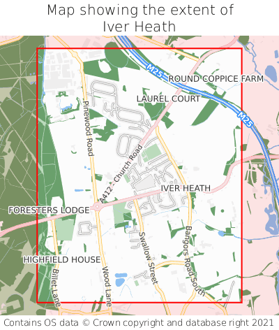 Map showing extent of Iver Heath as bounding box