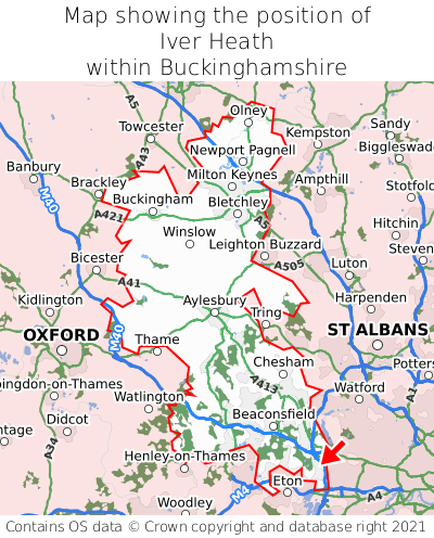 Map showing location of Iver Heath within Buckinghamshire