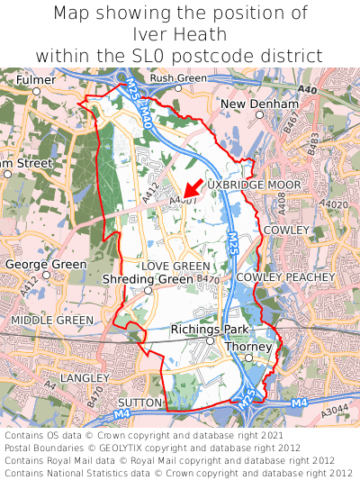 Map showing location of Iver Heath within SL0