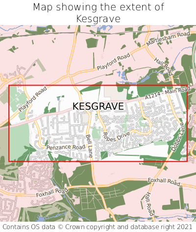 Map showing extent of Kesgrave as bounding box