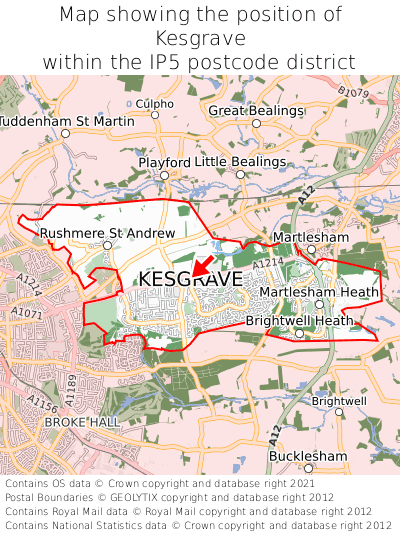 Map showing location of Kesgrave within IP5