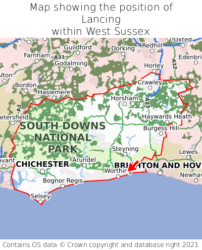 Map showing location of Lancing within West Sussex