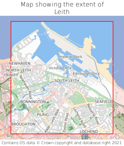 Map showing extent of Leith as bounding box