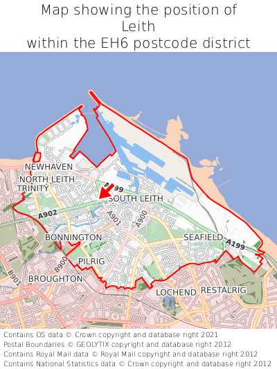 Map showing location of Leith within EH6