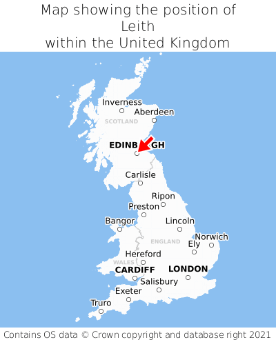 Map showing location of Leith within the UK