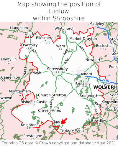 Map showing location of Ludlow within Shropshire