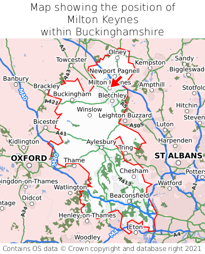 Map showing location of Milton Keynes within Buckinghamshire