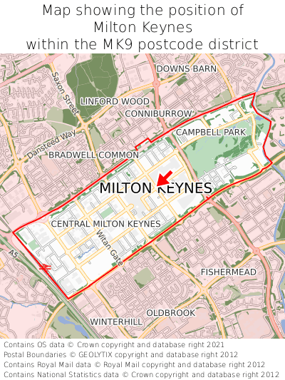 Map showing location of Milton Keynes within MK9