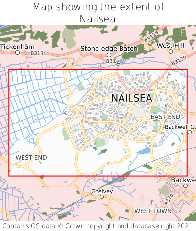 Map showing extent of Nailsea as bounding box