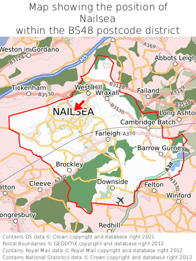 Map showing location of Nailsea within BS48