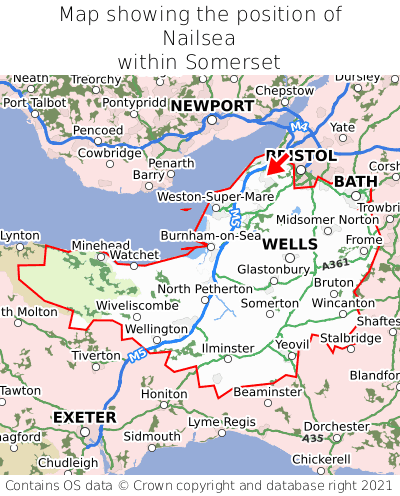 Map showing location of Nailsea within Somerset