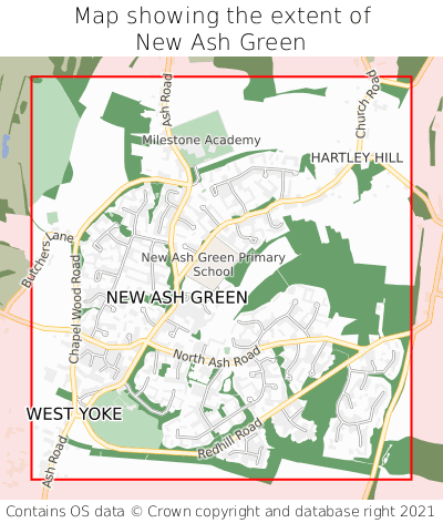 Map showing extent of New Ash Green as bounding box