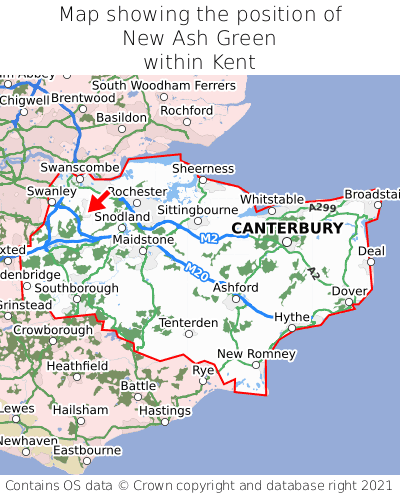 Map showing location of New Ash Green within Kent