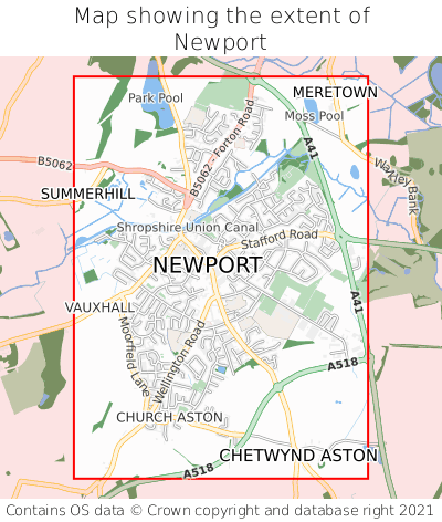 Map showing extent of Newport as bounding box