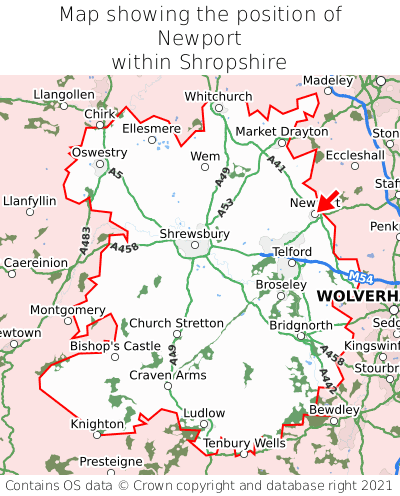Map showing location of Newport within Shropshire