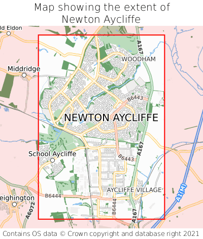 Map showing extent of Newton Aycliffe as bounding box