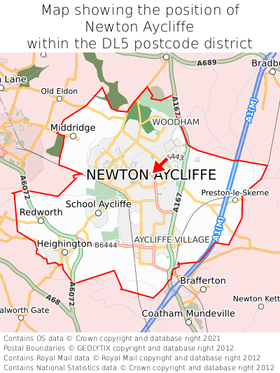 Map showing location of Newton Aycliffe within DL5