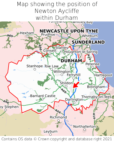 Map showing location of Newton Aycliffe within Durham