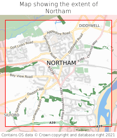 Map showing extent of Northam as bounding box