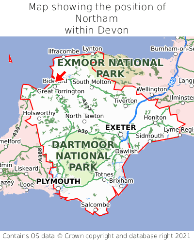 Map showing location of Northam within Devon