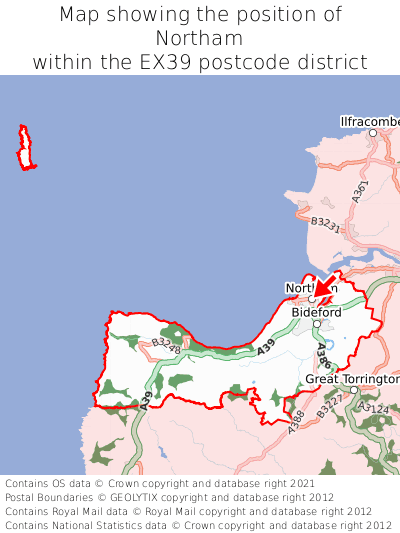 Map showing location of Northam within EX39