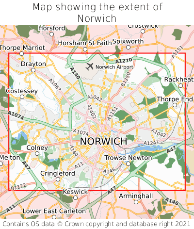 Map showing extent of Norwich as bounding box