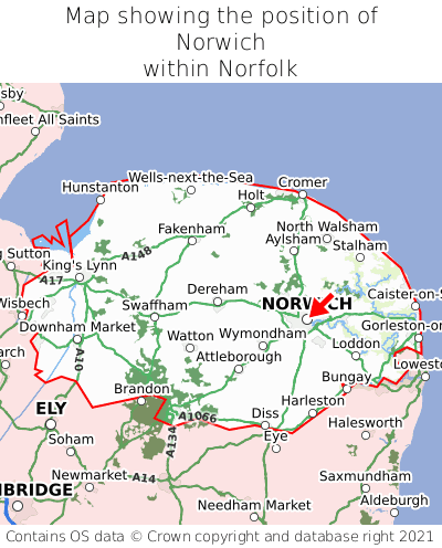 Map showing location of Norwich within Norfolk