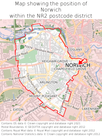 Map showing location of Norwich within NR2
