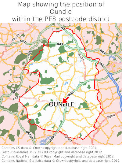 Map showing location of Oundle within PE8