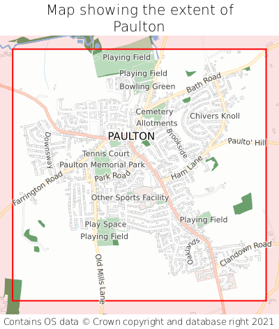 Map showing extent of Paulton as bounding box
