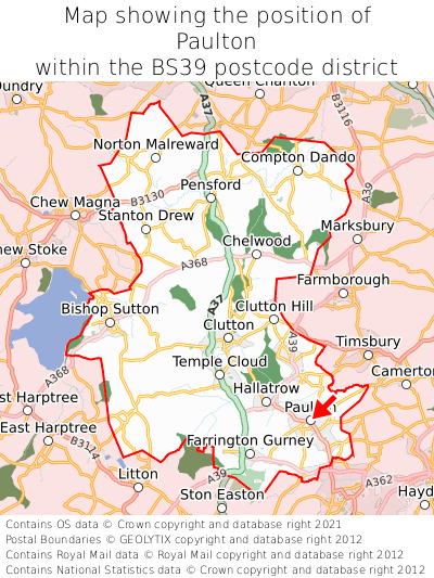 Map showing location of Paulton within BS39